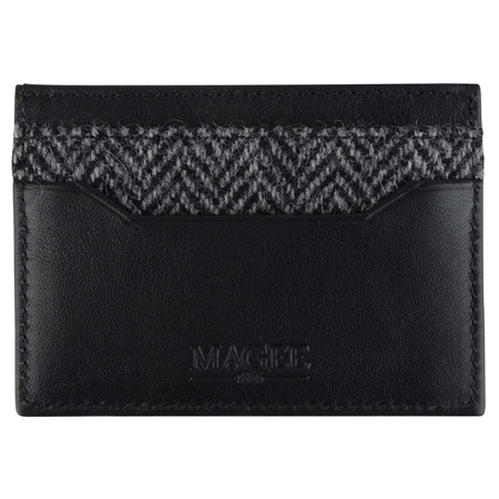Grey Herringbone Donegal Tweed & Leather Card Holder   - Click to view a larger image