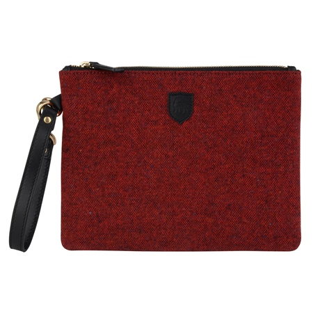 Red Salt & Pepper Donegal Tweed Clutch Bag   - Click to view a larger image