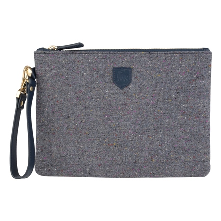 Grey Salt & Pepper Donegal Tweed Clutch Bag   - Click to view a larger image
