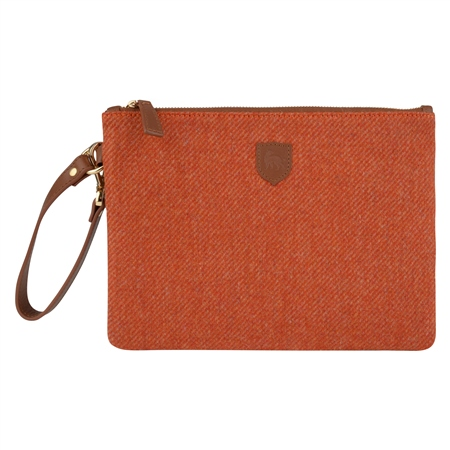 Orange Donegal Tweed Clutch Bag   - Click to view a larger image