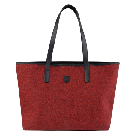 Red Salt & Pepper Donegal Tweed Leather Tote Bag  - Click to view a larger image