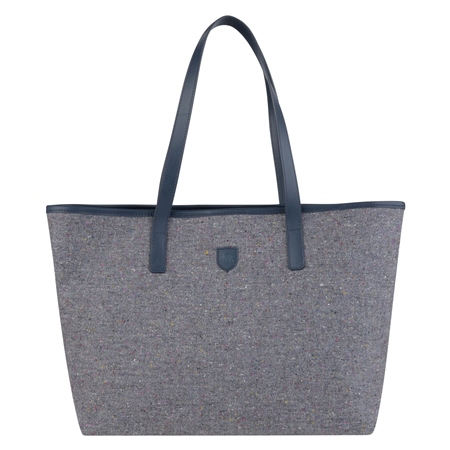 Grey Salt & Pepper Donegal Tweed Leather Tote Bag  - Click to view a larger image