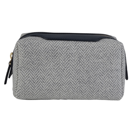 Grey Herringbone Donegal Tweed & Leather Make-Up Bag   - Click to view a larger image
