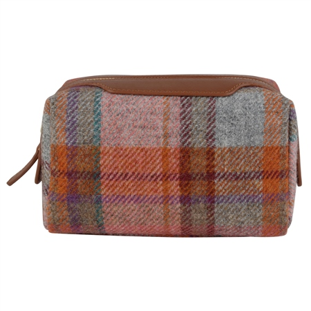 Orange & Grey Check Donegal Tweed Leather Make-Up Bag   - Click to view a larger image