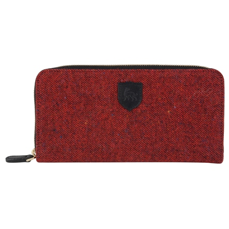 Red Salt & Pepper Donegal Tweed Wallet   - Click to view a larger image