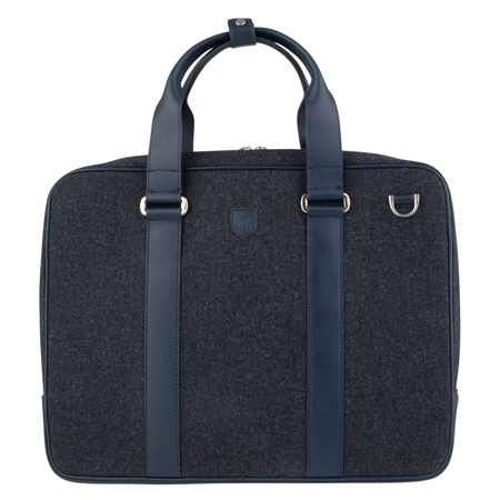 Blue Salt & Pepper Donegal Tweed Leather Laptop Bag  - Click to view a larger image