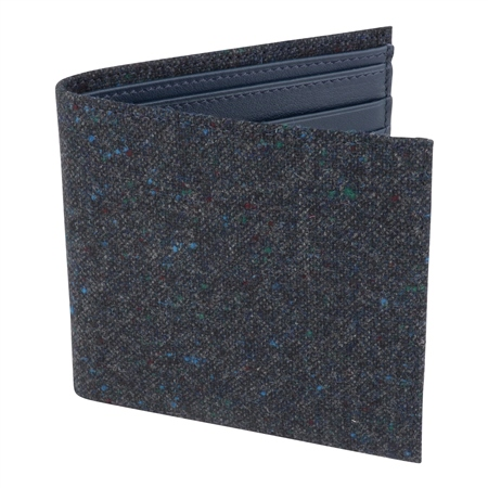 Blue Salt & Pepper Donegal Tweed Leather Wallet   - Click to view a larger image