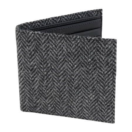 Grey Herringbone Donegal Tweed & Leather Wallet  - Click to view a larger image