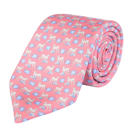 Magee 1866 - Cheetah Print, Pink Classic Silk Tie