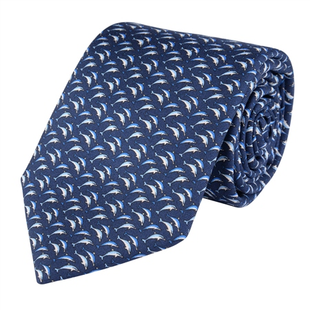 Dolphin Print, Blue Classic Silk Tie  - Click to view a larger image