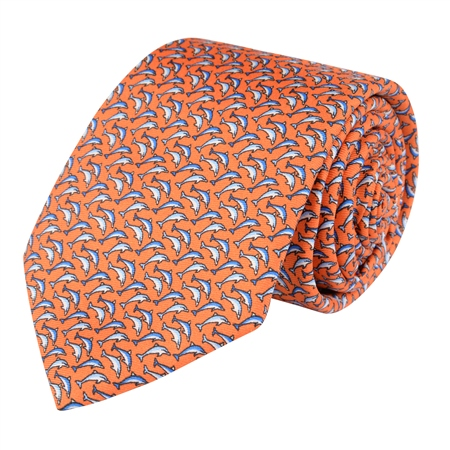 Dolphin Print, Orange Classic Silk Tie 000  - Click to view a larger image