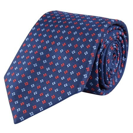 Dotted Print, Navy & Red Classic Woven Silk Tie  - Click to view a larger image