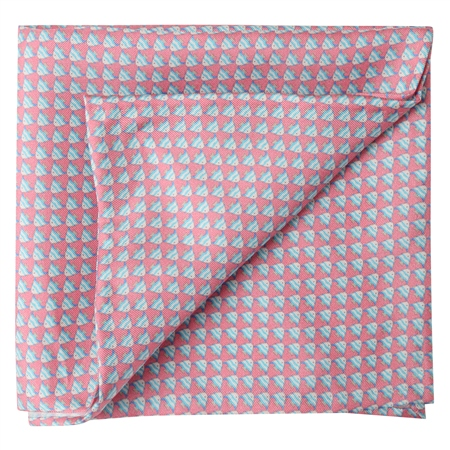 Fish Print, Pink Silk Pocket Square  - Click to view a larger image