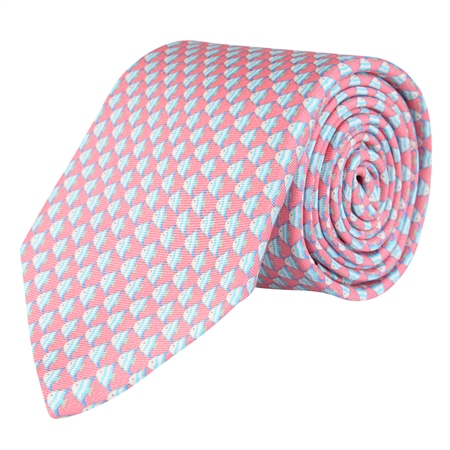 Fish Print, Pink Classic Silk Tie  - Click to view a larger image