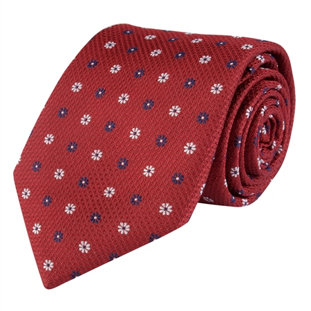 Flower Print, Burgundy & Blue Classic Silk Woven Tie  - Click to view a larger image