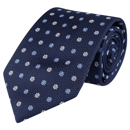 Flower Print, Navy & Blue Classic Woven Silk Tie  - Click to view a larger image