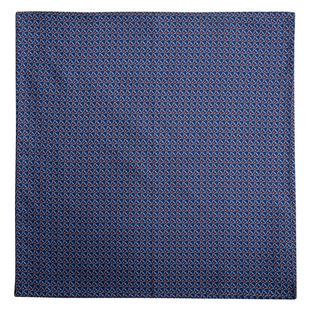 Stirrup Print. Blue & Red Silk Pocket Square  - Click to view a larger image