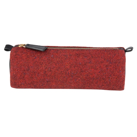 Red Salt & Pepper Donegal Tweed & Leather Pencil Case   - Click to view a larger image