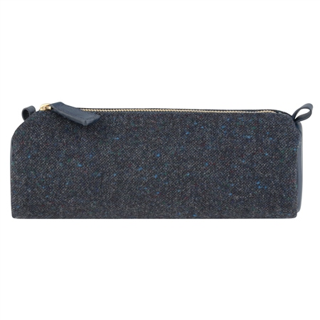 Blue Salt & Pepper Donegal Tweed & Leather Pencil Case   - Click to view a larger image
