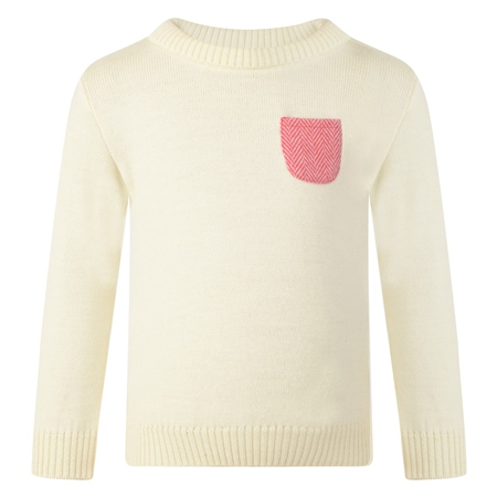 Girls Cream & Pink Donegal Tweed Patch Pocket Jumper  - Click to view a larger image