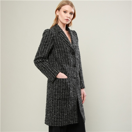 Black & White Overcheck Emma Donegal Tweed Coat  - Click to view a larger image