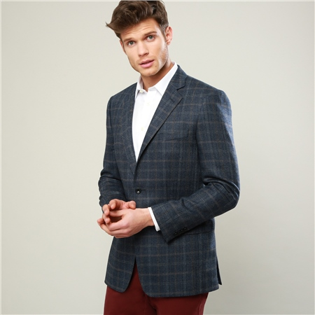 Blue Checked Classic Fit Jacket  - Click to view a larger image