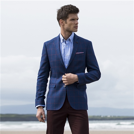 Blue & Raspberry Overcheck Finn Tailored Fit Blazer  - Click to view a larger image