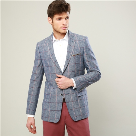Blue, Raspberry & Pink Overcheck Classic Fit Blazer  - Click to view a larger image