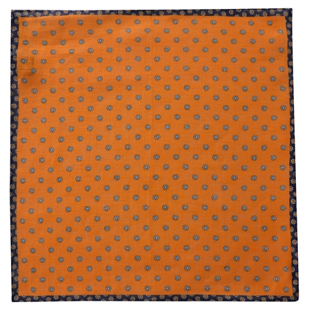 Orange Flower Print Linen Pocket Square   - Click to view a larger image