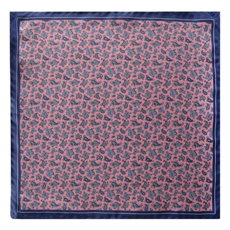 Magee 1866 - Blue & Pink Paisley Design Silk Pocket Square