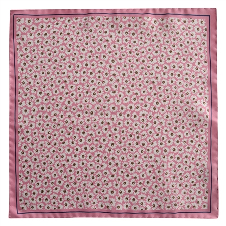 Pink Flower Print Silk Pocket Square  - Click to view a larger image