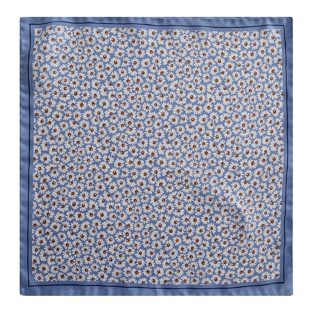 Magee 1866 - Blue Flower Print Silk Pocket Square