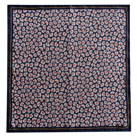 Magee 1866 - Navy & Red Flower Print Silk Pocket Square