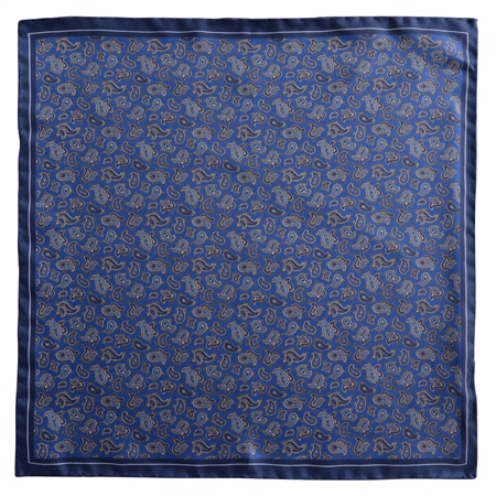 Magee 1866 - Navy Paisley Design Silk Pocket Square