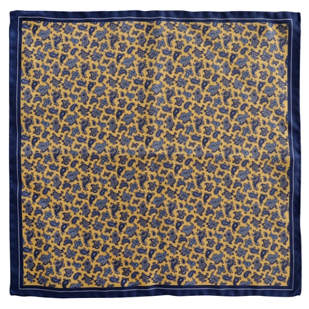 Magee 1866 - Blue & Gold Paisley Design Silk Pocket Square