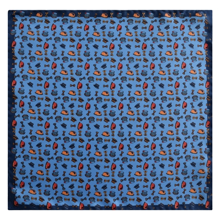 Magee 1866 - Blue Printed Silk Pocket Square