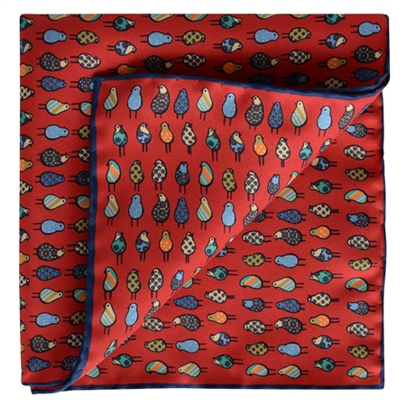 Magee 1866 - Bird Print, Red Silk Pocket Square