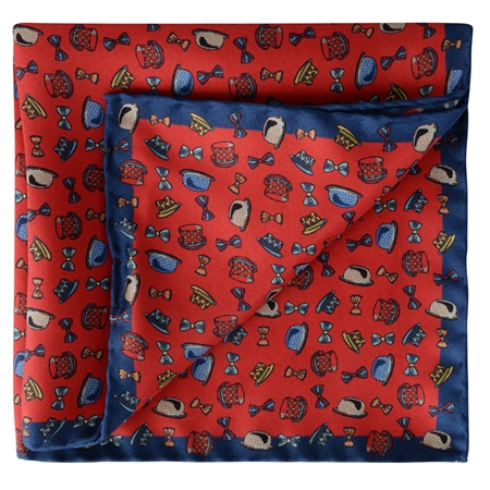 Magee 1866 - Red & Blue Micro Design Silk Pocket Square
