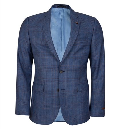 Blue Checked 3-Piece Tailored Fit Suit  - Click to view a larger image