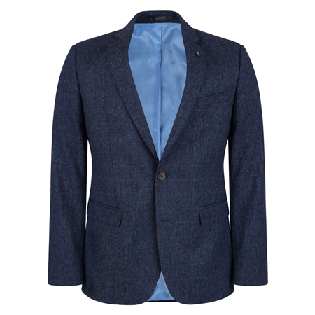 Navy Check Donegal Tweed 3 Piece Tailored Fit Suit