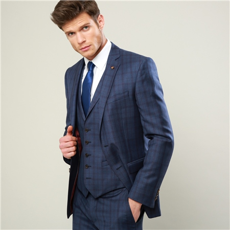 Blue & Burgundy Check 3-Piece Tailored Fit Suit  - Click to view a larger image