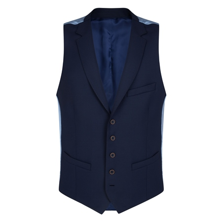 Navy Micro Design 3-Piece Tailored Fit Waistcoat  - Click to view a larger image