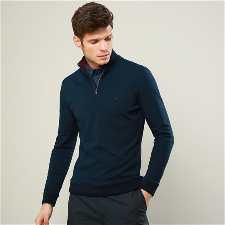 Navy Edrim 1/4 Zip Classic Fit Sweater  - Click to view a larger image