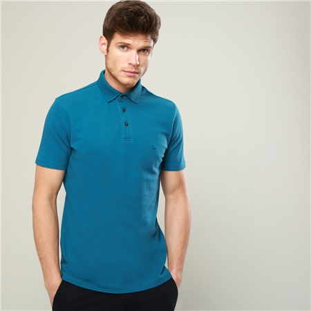 Blue Marfagh Cotton Classic Fit Polo Shirt  - Click to view a larger image