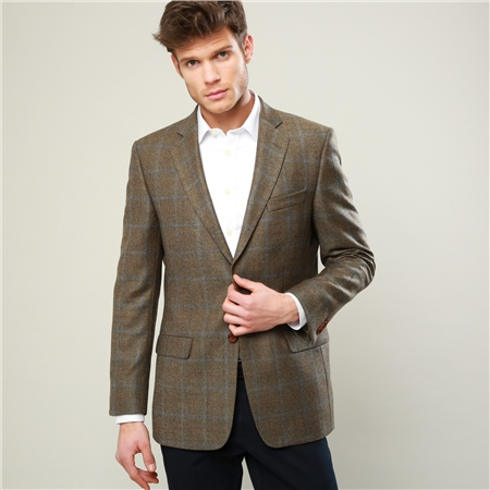 Brown Country Check Herringbone Tweed Classic Fit Blazer  - Click to view a larger image