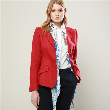 Red Alicia Herringbone Cashmere Blend Jacket  - Click to view a larger image