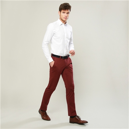 Maroon Braide Washed Look Tailored Fit Trousers  - Click to view a larger image