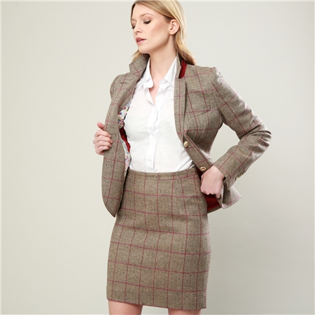 Oat Donegal Tweed Raspberry Overcheck Carey Skirt  - Click to view a larger image