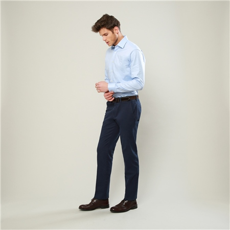 Navy Dungloe Washed Classic Fit Trousers  - Click to view a larger image