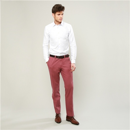 Raspberry Dungloe Washed Classic Fit Trouser   - Click to view a larger image